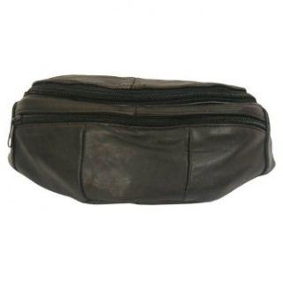 Black Buxton Leather 3 Zipper Bike Fannie Bag Clothing