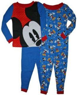 Mickey Mouse Toddler Boys 4 pc Cotton Pajama Set (3T, Blue