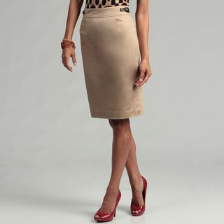 Calvin Klein Womens Dark Khaki Pencil Skirt