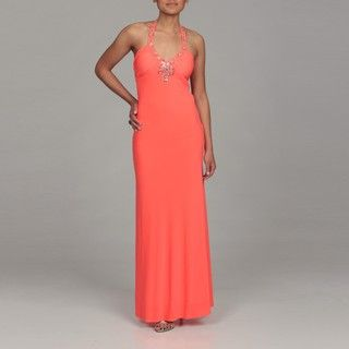 Morgan & Co. Juniors Neon Coral Beaded Halter Dress FINAL SALE