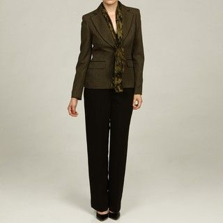 Evan Picone Womens Olive/ Black Pant Suit