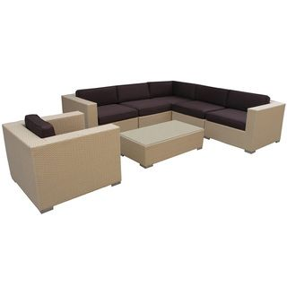 Corona Outdoor Rattan 7 piece Set in Tan with Brown Cushions