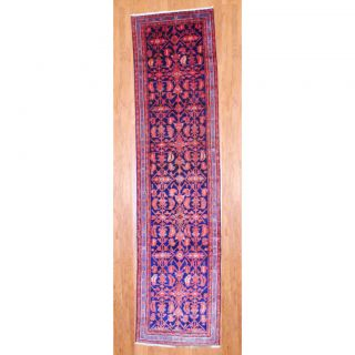 Persian Hand knotted Hamadan Navy/ Lt Blue Wool Rug (35 x 137