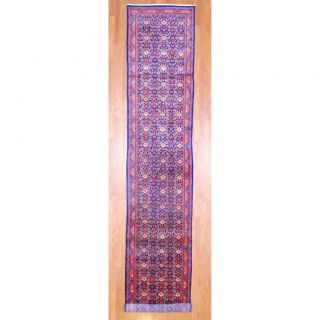Persian Hand knotted Hamadan Blue/ Rust Wool Rug (34 x 174