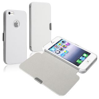 BasAcc White Snap on Leather Case for Apple iPhone 5