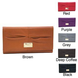 Anais Gvani Genuine Leather Pleated Tri Fold Wallet