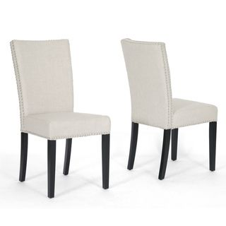 Harrowgate Beige Linen Modern Dining Chairs (Set of 2)
