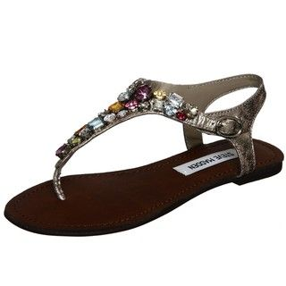 Steve Madden Womens Grooom Multi Jeweled Thong Sandals