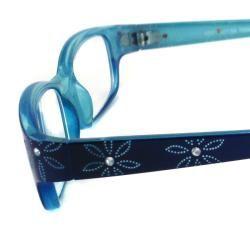 Urban Eyes Womens Crystal Floral Blue Reading Glasses