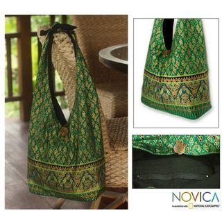 Cotton Royal Thai Emerald Sling Tote Bag (Thailand)