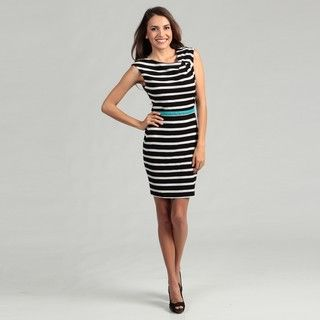 Calvin Klein Womens Black/ White Stripe Belted Dress