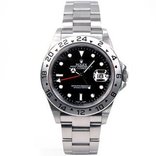 Pre Owned Rolex Mens Explorer II Stainless Steel Black Dial Watch