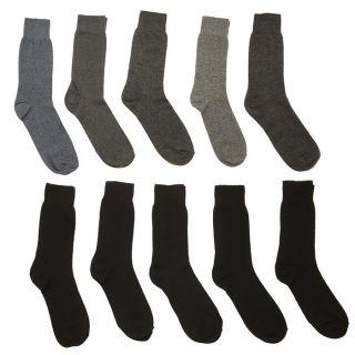 Lot de 10 chaussettes T43/46 Jersey Homme Noir, gris chiné, gris
