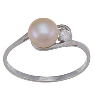 Sterling Silver White FW Pearl and Clear Cubic Zirconia Ring (6 7 mm