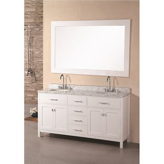 Wood Pearl White Marble Transitional Bathroom Vanity Set (61 inch