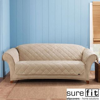 Sure Fit Taupe Reversible Quilted/Sherpa Sofa Cover