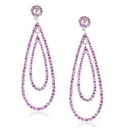 Sterling Silver Pink Sapphire Diamond Accent Dangle Earrings (H I, I1