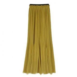 Allegra K Women Elastic Waist Chiffon Pleated Long Skirt