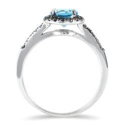 10k White Gold Blue Topaz and 1/4ct TDW Black Diamond Ring