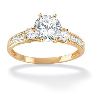 Ultimate CZ 18k Gold over Sterling Silver CZ Ring