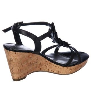 Bandolino Womens Ninette Black Wedge Sandals