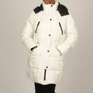 London Fog Womens White Hooded Puffer Coat