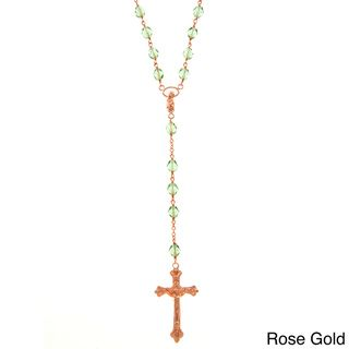 Bronze Green Czech Glass Bead 28 inch Rosary Necklace