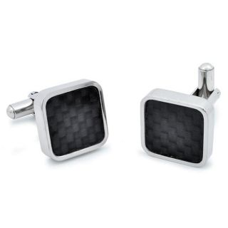 Stainless Steel Black Carbon Fiber Inlaid Cuff Links