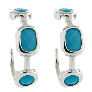 Sterling Silver Synthetic Turquoise Hoop Earrings
