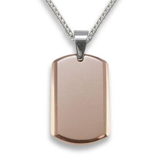 Mens Tungsten Carbide Rose plated Small Dog Tag Necklace
