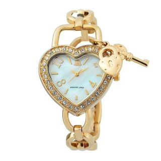 JLO Womens Crystal accented Goldtone Heart shaped Watch