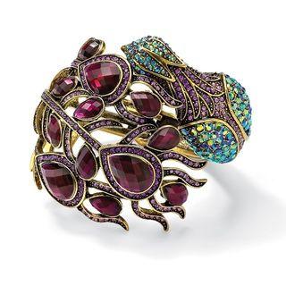 Lillith Star Goldtone Antiqued Multi colored Crystal Bangle Bracelet