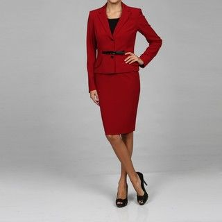 Calvin Klein Womens Red Two piece Skirt Suit
