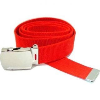 Red Columbia Style Military Web Belt With Silver Buckle