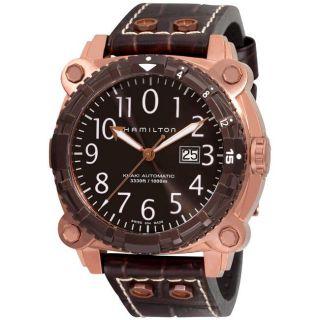 Hamilton Mens Khaki Navy BelowZero Brown Strap Divers Watch