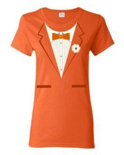 Orange Tuxedo Ladies T shirt / Funny Formal Bachelor