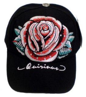 Tattoo Art Baseball Hat; Black Cap w/ Red Rose Flower