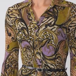 Signature by Larry Levine Womens Geometric Print Belted Crinkle Top