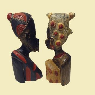 Sese Wood Handmade Benin King and Queen Busts (Ghana)