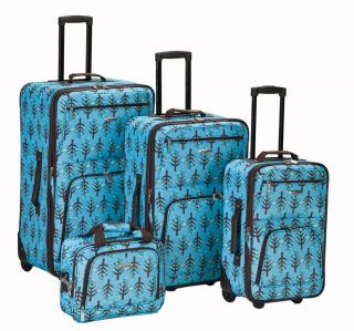 Rockland Tree Print Expandable 4 piece Luggage Set