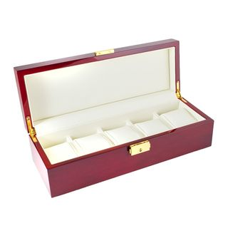 Rosewood Finish 5 Watch Display Box With Solid Top
