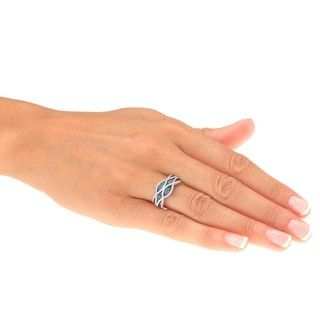 Sterling Silver 3/8 ct TDW Blue and white Criss Cross Diamond Cocktail