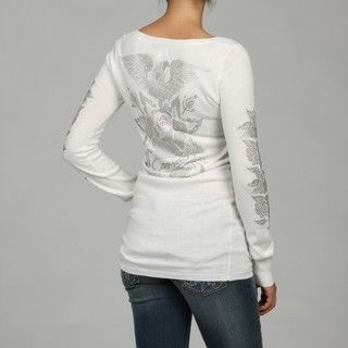 Ed Hardy Knit Womens Long Sleeve Scoop Neck Printed Motif Tunic Top