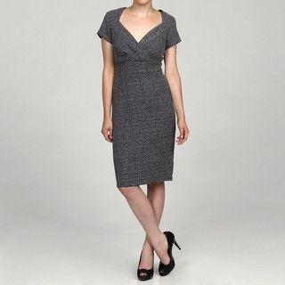 Danny & Nicole Womens Black/ White Tweed Surplice Wrap Dress