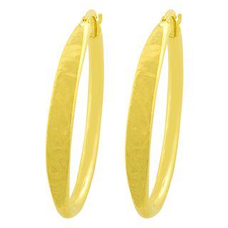 Fremada 14k Yellow Gold Satin/ Polished Oval Hoop Earrings
