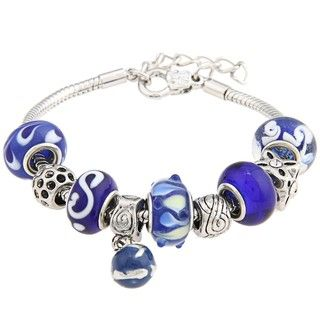 La Preciosa Snake chain Polished brass Blue Glass bead Charm Bracelet
