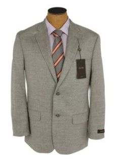 Tasso Elba Mens 2 Button Light Gray Herringbone Wool Sport