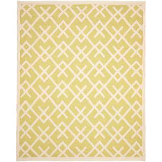 Moroccan Light Green/ Ivory Dhurrie Wool Rug (10 x 14)