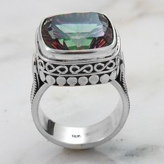 Sterling Silver Square Mystic Fire Quartz Charming Ring (Indonesia