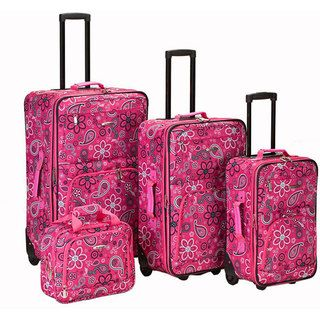 Rockland Designer Pink Bandana Expandable 4 piece Luggage Set